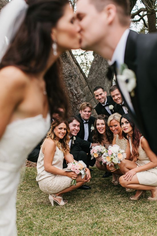 I saw one where the wedding party was sort of photo bombing, only it was the bride and groom that were in focus. might be kind of fun. > it could be a running silly thing to do w/o the couple knowing then give a gag gift album with all the photo bombed captures of the bridal party!