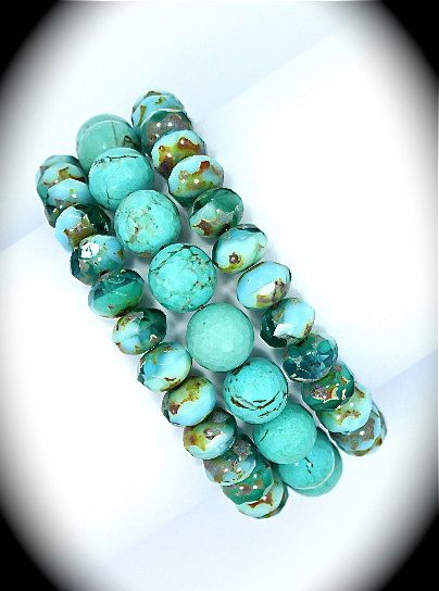 Turquoise rondells & African turquoise stretch bracelets