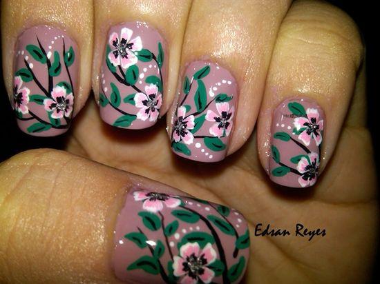 Sandy Floral by miren - Nail Art Gallery nailartgallery.na... by Nails Magazine www.nailsmag.com #nailart