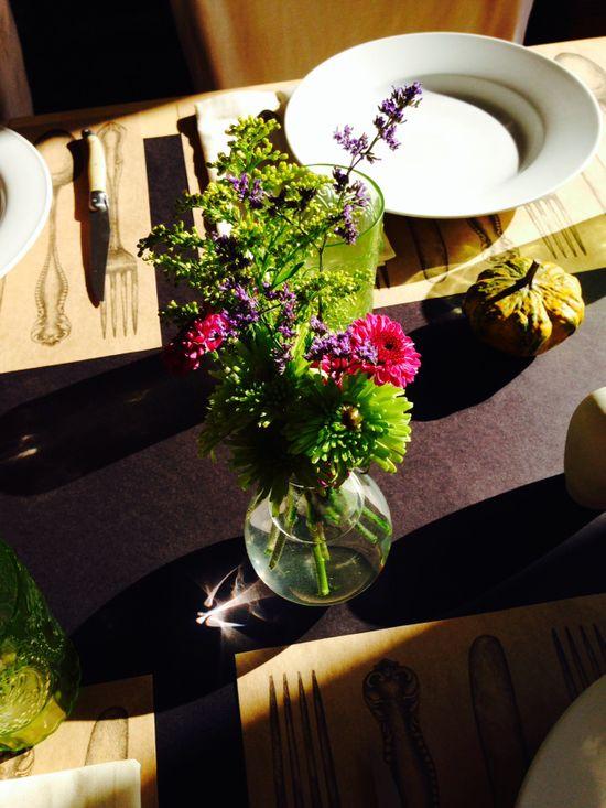 small, low, flower arrangements