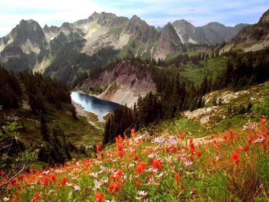 Cliff Lake and the Tatoosh Range, Mt Rainier National Park WA