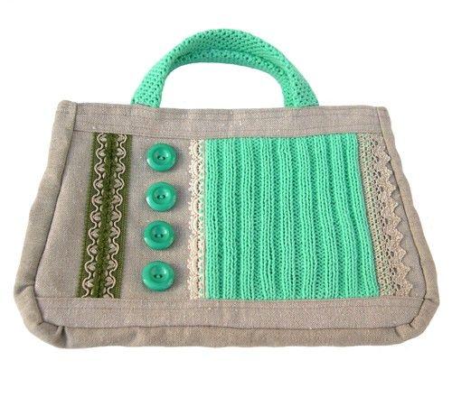 Handbag 'Green Stitches'