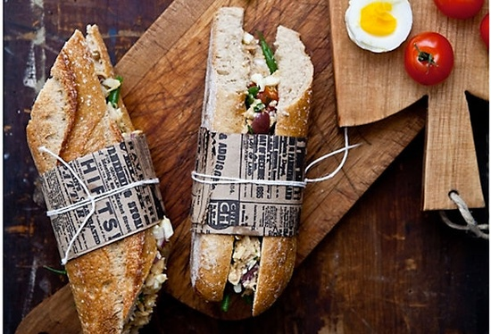 Cooking twine + kraft paper = gourmet sandwiches!