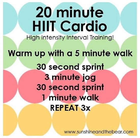 20 minute HIIT cardio (running)