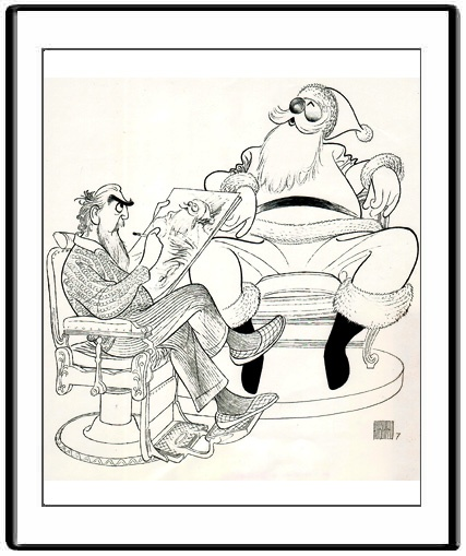 Santa Gets Himself a Present: Commissioned by Neiman Marcus for their 1983 Catalogue, through Hirschfeld's exclusive authorized dealer, Margo Feiden of the Margo Feiden Galleries Ltd.   Available through the Gallery as a Giclee, made to order. Your Giclee and your Certificate of Authenticity will bear the embossed Seals of both Al Hirschfeld and the Margo Feiden Galleries Ltd., New York
