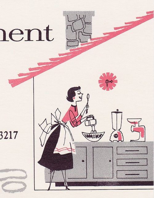 A cheerful 1950s homemaker whizzes through her cooking thanks to her array of Oster small appliances. #illustration #1950s #vintage #homemaker #housewife