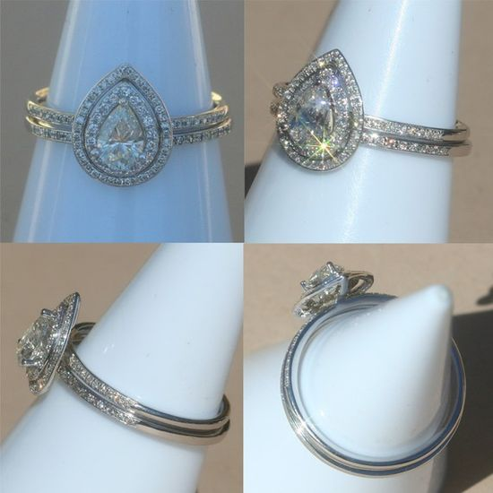 Pear Shaped Diamond Engagement Ring with by LaurieSarahDesigns,  (idea for band for my ring)