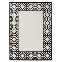 grenwich rectangular framed wall mirror, essentialsinside.com (open lattice wood work design and is finished in a glossy black lacquer)