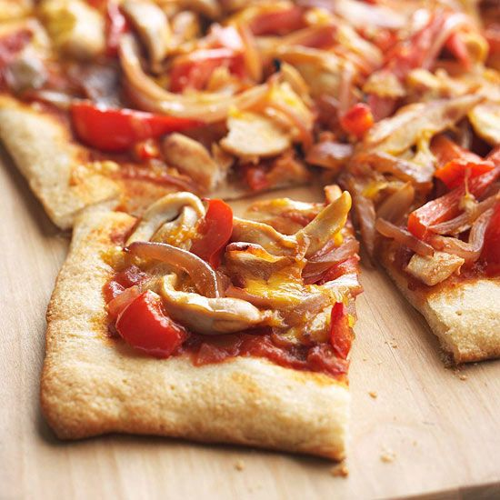Cut calories with our better-for-you chicken pizza. More #healthy recipes: www.bhg.com/...