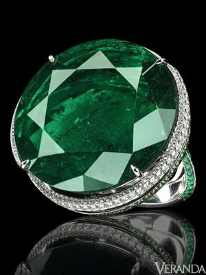 Chopard 62-carat Colombian emerald ring in an unusual round shape