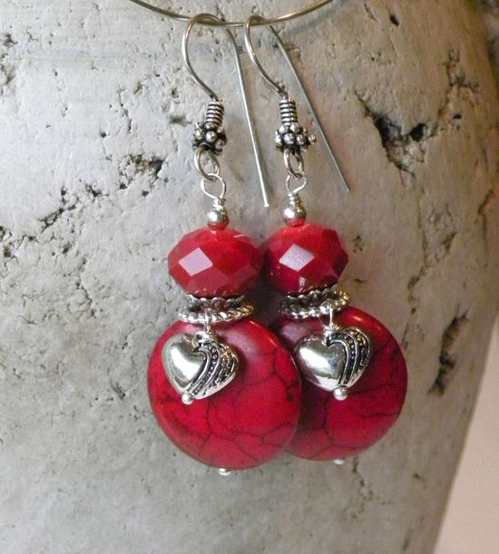 Heart of Hearts Handmade Beaded Earrings Red Crystals Turquoise. $14.00, via Etsy.