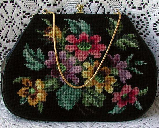 Beautiful & Colorful Floral Needlepoint Vintage Handbag