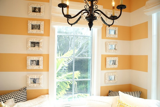 striped yellow and white walls