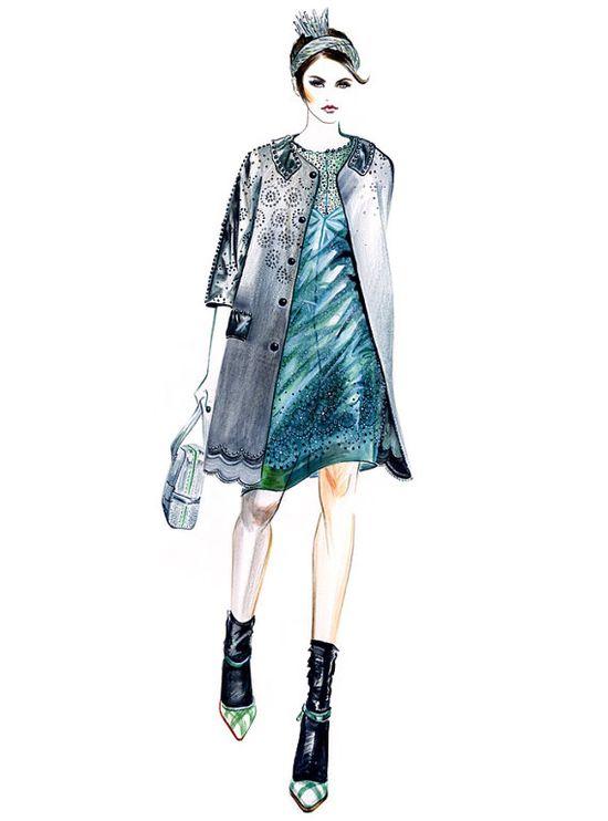 Runway Fashion Illustration  Marc Jacobs by sunnygu on Etsy, $30.00