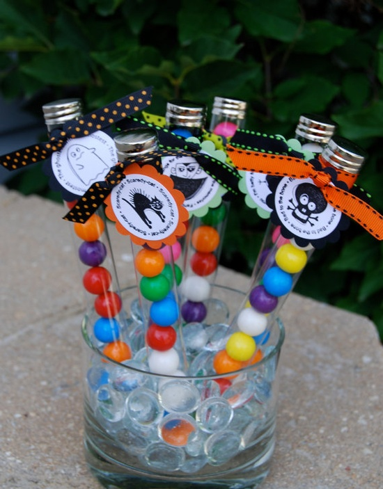 Great idea for Halloween party - test tube favors for the kids!