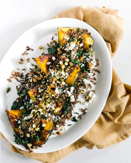Roasted Acorn Squash with Wild Rice Pistachio Stuffing @A Couple Cooks #recipes #food