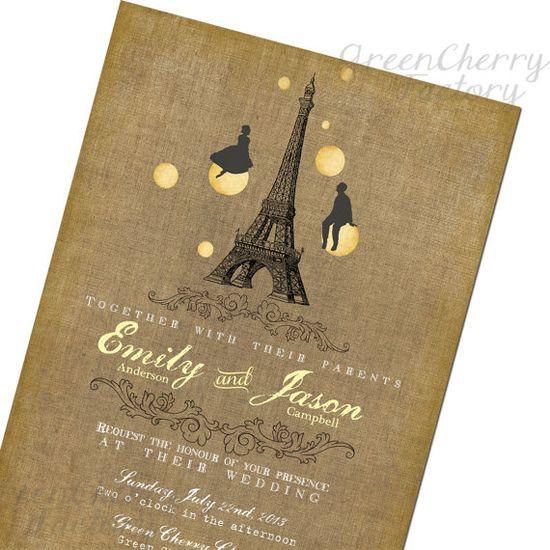 Vintage Paris Wedding Invitation  by GreenCherryFactory on Etsy, $15.00