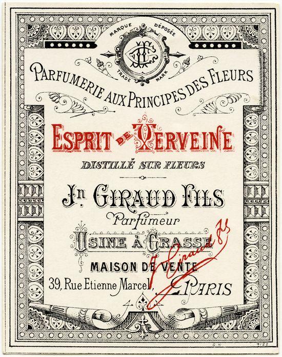 French Perfume Label ~ Vintage Ephemera