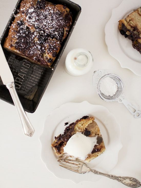 earl grey, apple, chocolate chip bread pudding