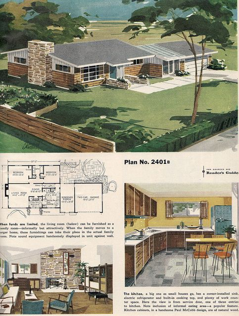 1959 Mid-Century ranch house with floorplan and interior pics.