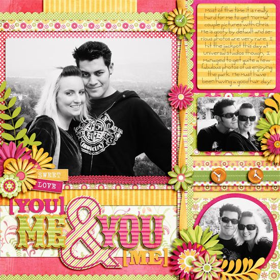 love the happy colours! scrapbook layout