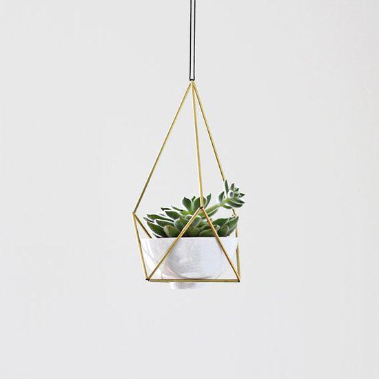Brass Himmeli Hanging Planter no. 2 / Modern Mobile / Geometric Terrarium / Plant Hanger via Etsy