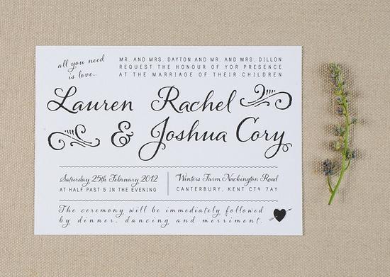 Whimsical Rustic Wedding Invitations. £3.00, via Etsy.