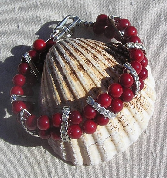 Natural Red Coral Gemstone Bracelet  Poppy by SunnyCrystals, £12.25