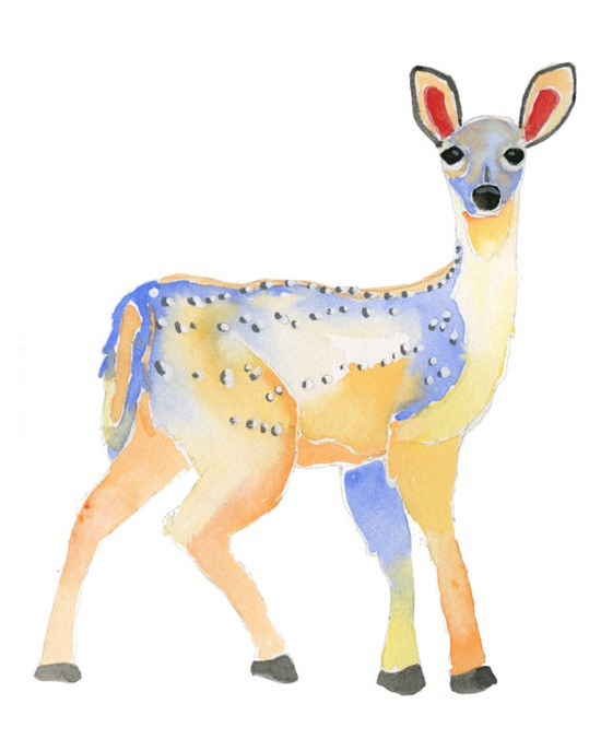 Cutest little deer watercolor!