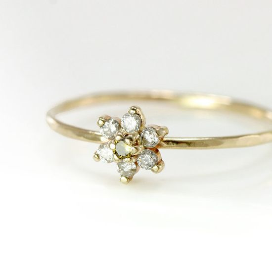 Diamond Flower Stacking Ring in 14k Gold White by ScarlettJewelry