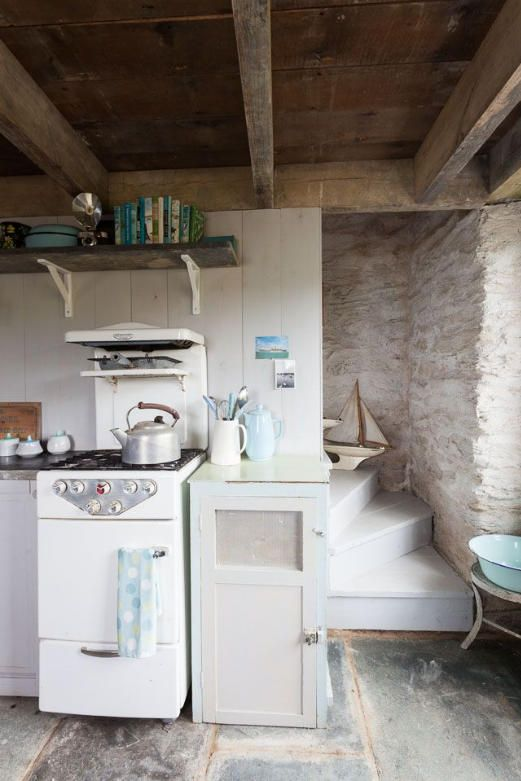 This is a cozy little rustic kitchen