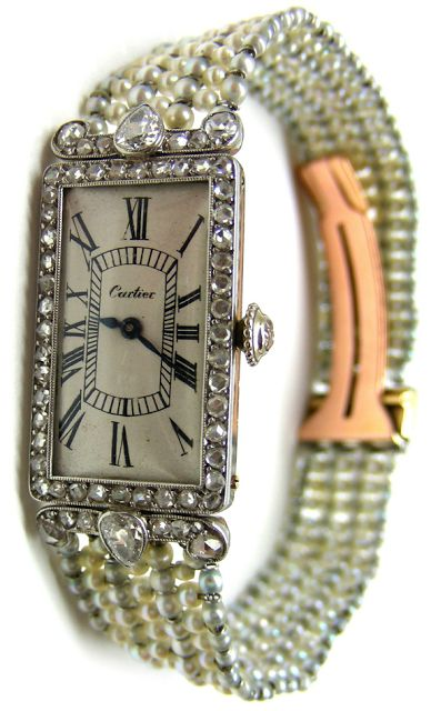 Cartier pearl and diamond dress watch, circa 1905.  #TuscanyAgriturismoGiratola