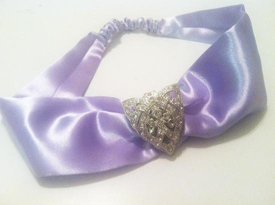 Lavender ART DECO Silk Headwrap with Authentic Art Deco Embellishment