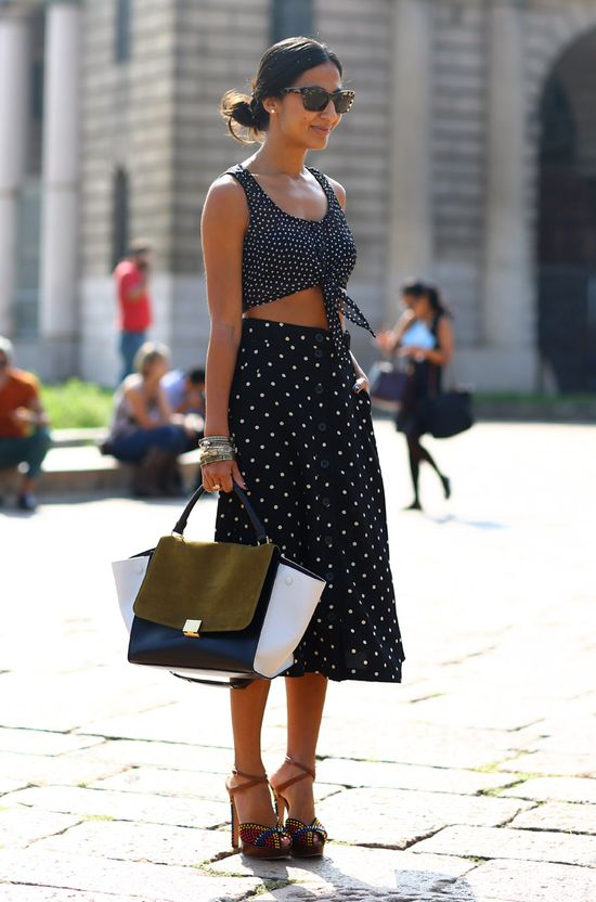 cropped tops and skirts