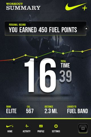Really nice UI for Nike Fuel app.