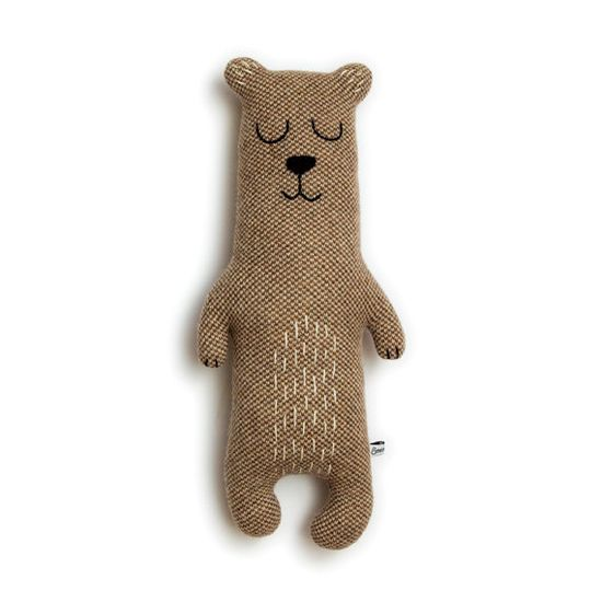 Brian the Bear Lambswool Plush. Brian is knitted using a lovely brown and cream lambswool and is stuffed with polyester stuffing. His face is hand embroidered. #handmade #toys #toy #stuffed #stuffedtoys