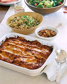 Chicken enchiladas, a simple rice side dish, won't make them forget the night's main course, but kids will gladly eat them. Preparing components of the meal ahead of time makes life easier.