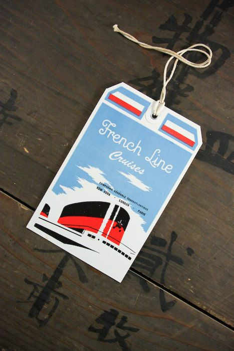 1950's Vintage Travel Luggage Suitcase Tag French by dawnandross