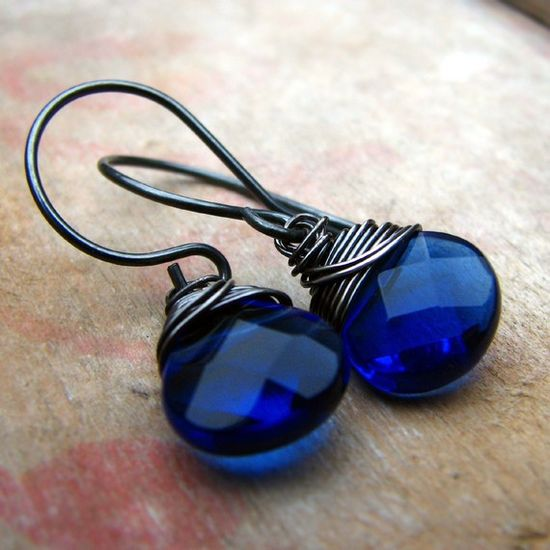 sterling silver wire wrapped glass earrings