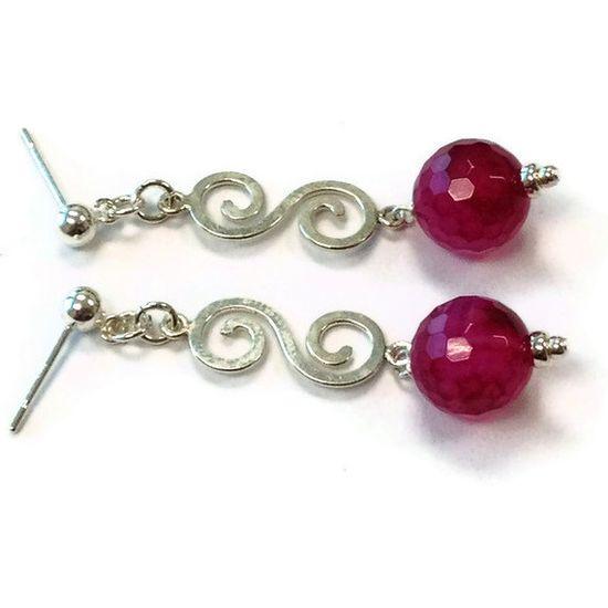 Pink Earrings Sterling Silver Jewelry Agate by jewelrybycarmal, $38.00