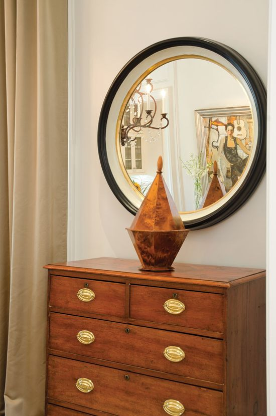 Antique furniture and mirror.