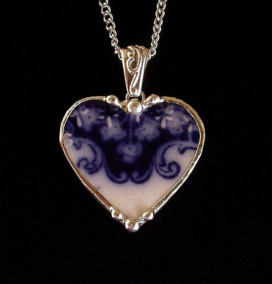 Antique 1880s flow blue shamrock clover heart pendant