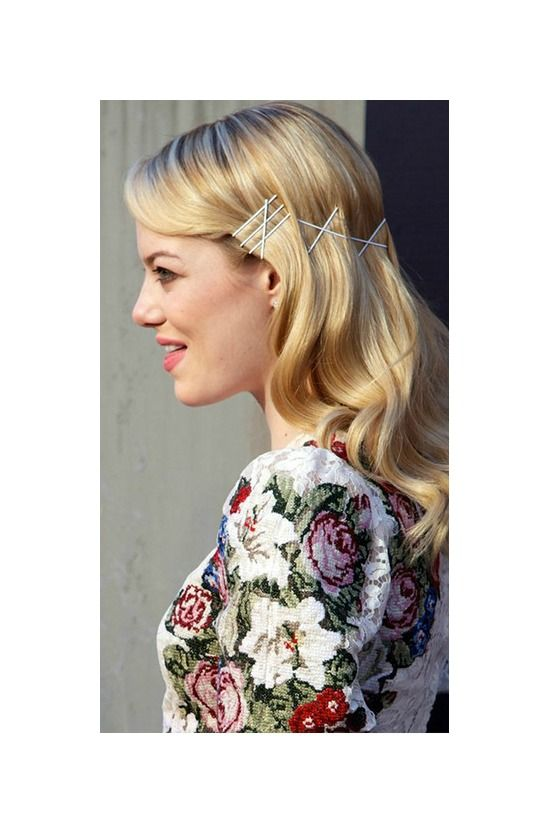 interesting styling idea using white bobby pins #hair