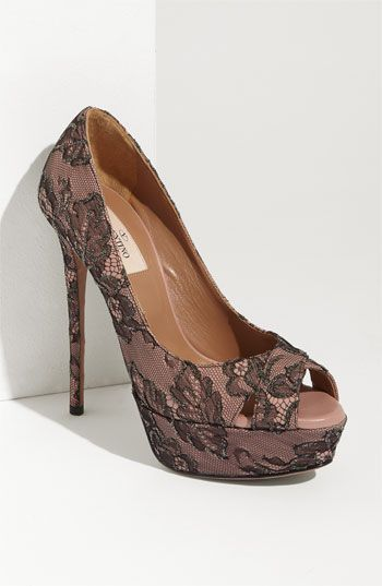 Valentino Crystal Lace Open Toe Pump at Nordstrom