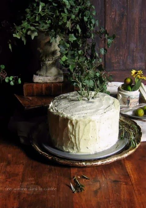 Rosemary Citrus Cake with Mascarpone Honey Frosting