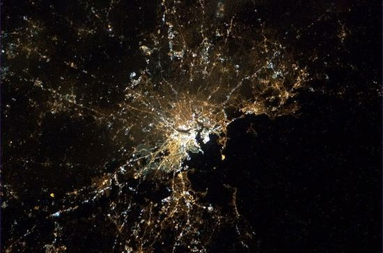 Boston.  Photo taken by crew aboard the International Space Station.  Chris Hadfield, Twitter