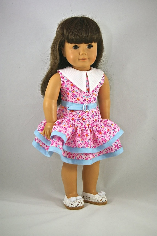 American Girl 18 inch doll dress Easter spring pink ruffled. $12.00, via Etsy.