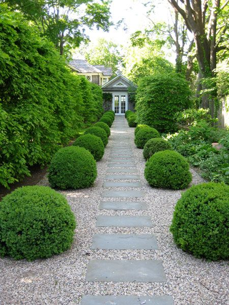 Pea gravel and stone path lined with boxwood