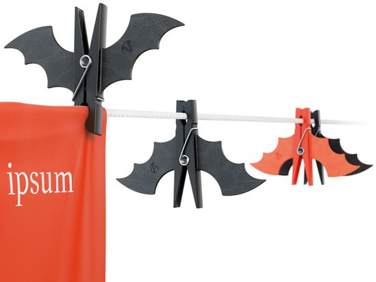Bats all around. Spray paint clothespins & add foamy wings.