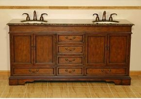 "HYP-0715-BB-UIC-72 72"" Ashley Double Sink Cabinet - Baltic Brown Top, Undermount Ivory Ceramic Sinks (3-hole)"